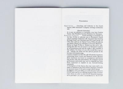 "Michalis Pichler, Monsanto Company Earnings Call Transcript (Berlin: ""greatest hits"", Skopje: Museum of Contemporary Art, 2010)."
