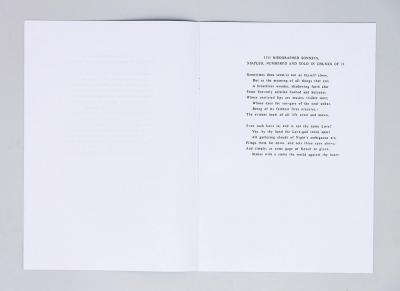 Michalis Pichler, 1111 RISOGRAPHED SONNETS, STAPLED, NUMBERED AND SOLD IN CHUNKS OF 11 (Paris: ed. Christophe Daviet-Thery, 2013).