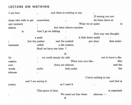 John Cage, LECTURE ON NOTHING