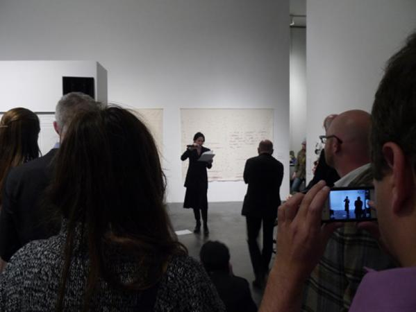 Vanessa Place READING at opening of Postscript: Writing After Conceptual Art