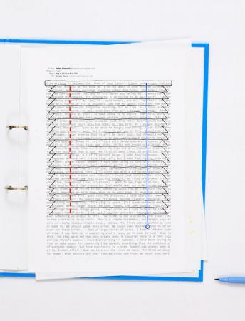 Natalie Czech, A negative calligramme by Julien Bismuth (Jalousie), 2018
