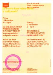 SONNET(S) & OTHER SONNET(S), Ulises Carrion / Michalis Pichler at PrintRoom, NL