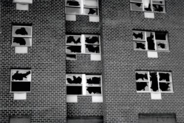 Gordon Matta-Clark, Window Blowout, NY 1976, instantly censored by P. Eisenman